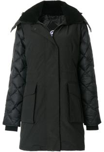 Canada Goose Shearling Lined Hooded Coat - Preto