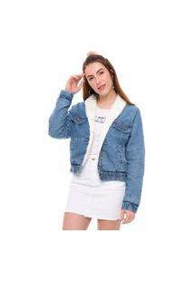 Jaqueta Jeans Forrada Bomber Feminina