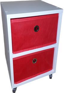 Mesa De Cabeceira Com Gaveta Mdf Branco Gaveteiro Vermelho - Vermelho - Dafiti