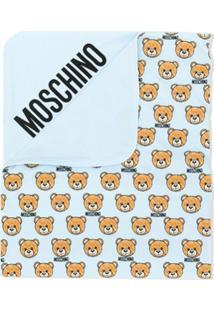 Moschino Kids Cobertor Com Logo Estampado - Azul