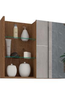 Espelheira Para Banheiro Com 1 Porta 60Cm Jasmin-Mgm - Amendoa