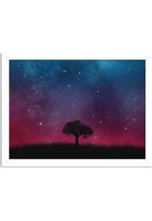 Quadro Decorativo Noite Estrelada Branco - Médio