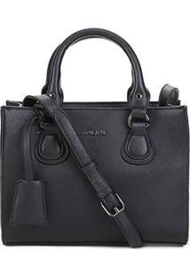 Bolsa Anacapri Handbag Eco Safiano Shandong Feminina - Feminino-Preto