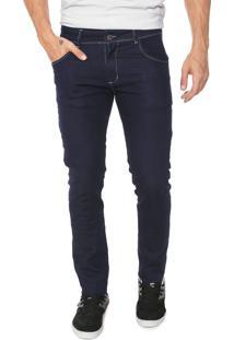 Calça Jeans Ride Skateboard Slim Pespontos Azul-Marinho