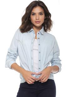Camisa Jeans Lança Perfume Reta Bordado Azul
