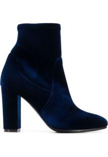 Via Roma 15 Velvet Ankle Boots - Azul