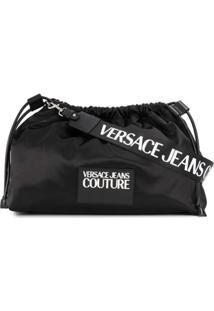 Versace Jeans Couture Bolsa Tiracolo De Cetim Com Cordão De Ajuste - Preto