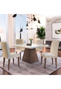Conjunto De Mesa De Jantar Luna Com 4 Cadeiras Estofadas Grécia Veludo Café E Creme