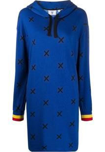 Rossignol Vestido De Moletom Com Estampa De Cruz - Azul