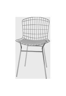 Cadeira Trama Vinil Branco/Cromado Pozza