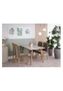 Conjunto De Mesa De Jantar Adele Com Tampo De Vidro Off White E 4 Cadeiras Estofadas Alice Suede Joli E Madeira