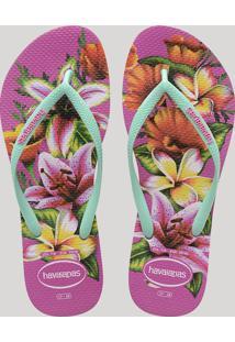 Chinelo Feminino Havaianas Slim Estampado Floral Verde