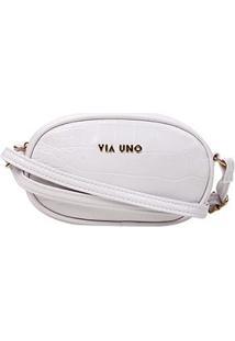 Bolsa Via Uno Mini Bag Eco Croco Fosco Feminina - Feminino-Branco