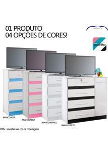 Cômoda 4 Gavetas E 1 Porta Grécia Albatroz Móveis Branco/Azul/Preto/Rosa