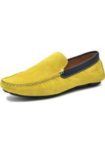 Mocassim Sartre Driver Colors Em Couro Amarelo