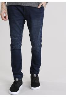 Calça Jeans Masculina Jogger Em Moletom Com Elástico Na Barra Azul Escuro