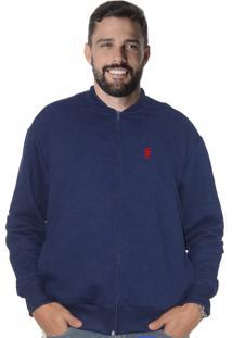 Blusa De Moletom Azul Marinho Aberta Suffix Com Bolso Canguru