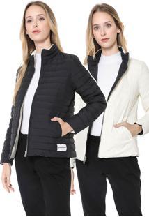 Jaqueta Puffer Calvin Klein Jeans Dupla Face Preta/Off-White