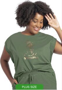 Blusa Com Diferenciada Em Meia Malha Verde