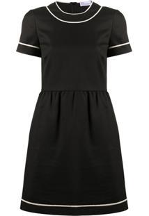 Redvalentino Vestido Com Acabamento Contrastante - Preto