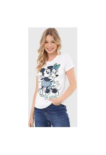 Camiseta Cativa Disney Mickey & Minnie In Love Branca