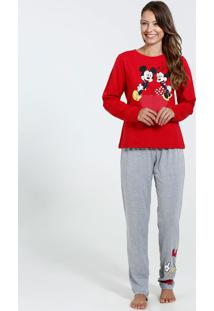 Pijama Feminino Estampa Minnie E Mickey Disney