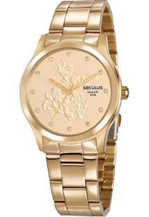 Relógio Seculus São Jorge Feminino - Feminino-Dourado
