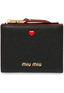 Miu Miu Carteira Com Detalhe De Coração - Preto