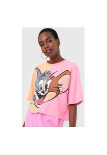 Camiseta My Favorite Thing(S) Tom And Jerry Neon Laranja/Rosa