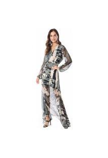 Vestido Maria Valentina Longo Decote Transpassado Com Transparência Verde