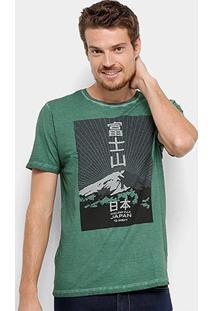 Camiseta Jab Estampa Montanha Masculina - Masculino-Verde Militar