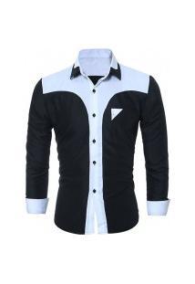 Camisa Masculina Manga Longa 7671 - Preta E Branca