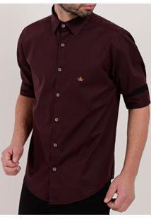 Camisa Manga ¾ Masculina Bordô