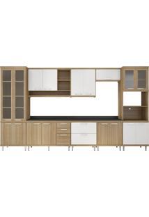 Cozinha 9 Módulos 17 Portas 5 Gavetas Argila E Branco Multimóveis