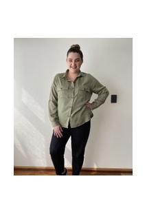 Camisa Liocel Com Bolsos Curve & Plus Size | Ashua Curve E Plus Size | Verde | G