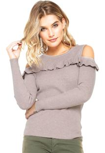 Blusa Facinelli By Mooncity Tricot Babados Bege