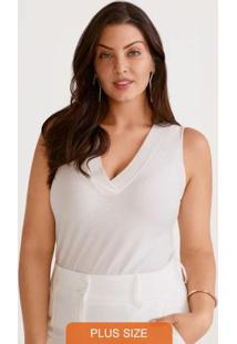 Blusa Malha Com Lurex Branco Off White