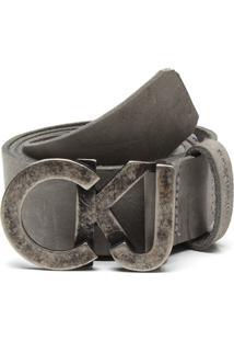 Cinto Couro Calvin Klein Jeans Fosco Cinza