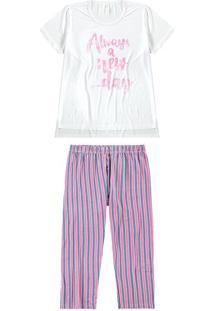 Pijama Feminino Estampado Listrado Malwee Liberta Branco - P