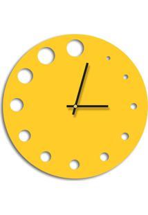 Relógio De Parede Decorativo Premium Amarelo Com Detalhes Vazado Médio