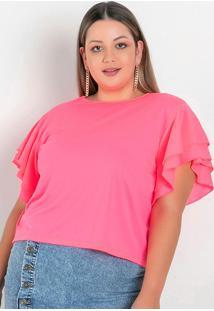 Blusa Rosa Neon Com Babados Plus Size