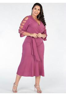 Vestido Plus Size Rosa Mangas Vazadas