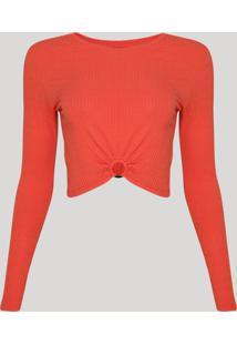 Blusa Feminina Cropped Canelada Com Argola Manga Longa Decote Redondo Laranja