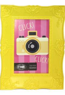Porta Retrato Retrô De Plástico Amarelo 10 X 15 Cm 92511