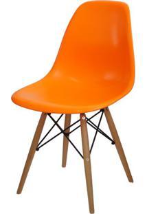 Cadeira Eames Polipropileno Laranja Base Madeira - 14912 Sun House