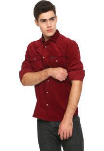 Camisa Colcci Veludo Slim Básica Bordô