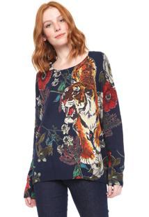 Suéter Desigual Tricot Chiara Azul-Marinho