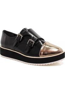 Oxford Zariff Shoes Flatform Monk Strap Feminino - Feminino-Preto