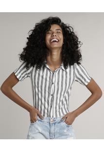 Camisa Feminina Listrada Manga Curta Off White