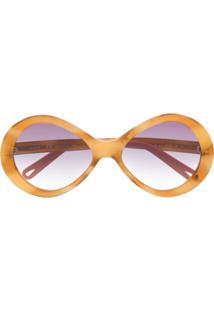 Chloé Eyewear Oversized Sunglasses - Marrom